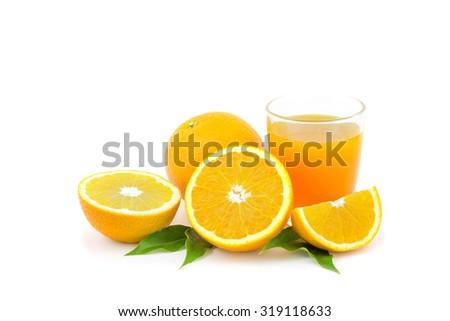 And fresh squeezed orange juice on the white family . - stock photo