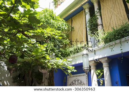Andalucia, streets of Marbella in Spain with flowers and plants on the facade - stock photo