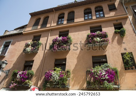 Andalusia, alley and flowers - stock photo
