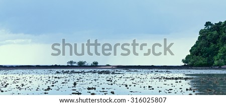andaman sea low tide at twilight, Asia, Thailand - stock photo