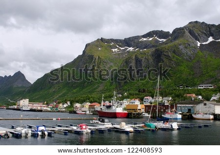 Andenes pier, Gryllefjord, ferry to Lofoten Islands, Norway - stock photo