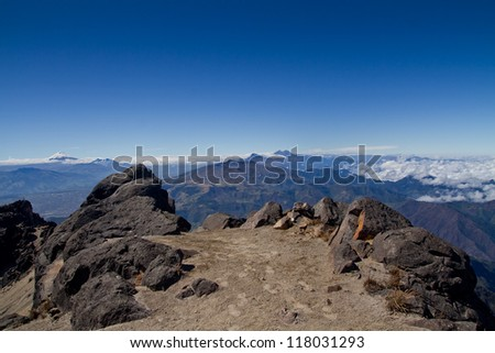 Andes mountains, Cotopaxi volcano, Ecuador, aerial view with blue skyes - stock photo