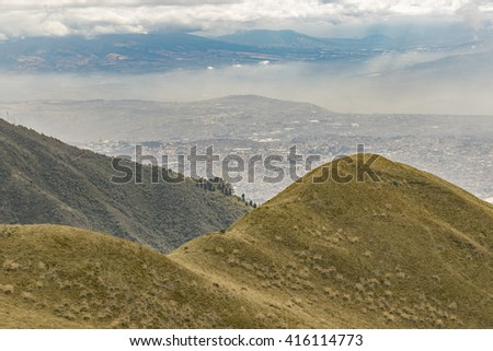 Andes range mountains landscape scene from the top of Cruz Loma hill, Quito Ecuador - stock photo