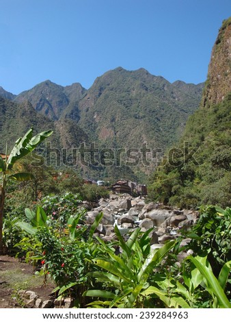 andes scenery around Machu Picchu, a ancient Inka city in the Andes located in Peru (South America) - stock photo