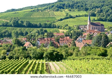 Andlau (Bas-Rhin, Alsace, France) - The village and its vineyards - stock photo