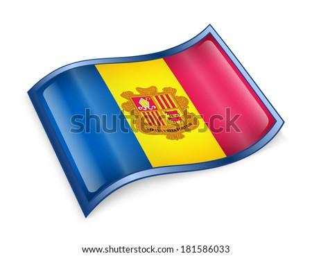 Andorra flag icon, isolated on white background - stock photo