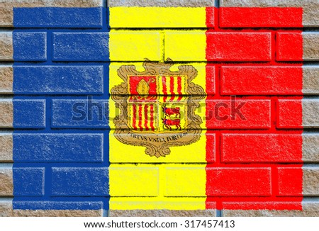Andorra flag painted on old brick wall texture background - stock photo
