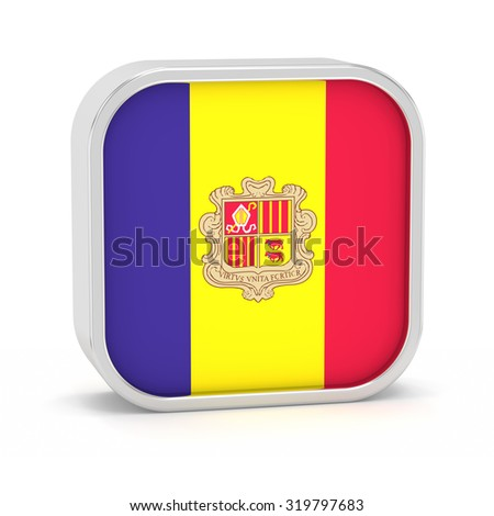 Andorra flag sign on a white background. Part of a series. - stock photo