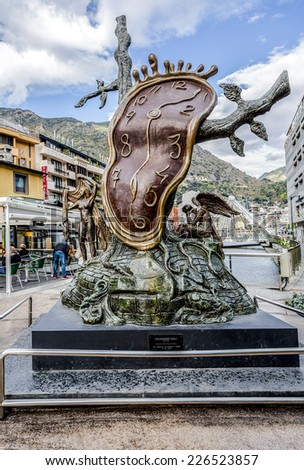"ANDORRA LA VELLA, ANDORRA - NOVEMBER 25, 2014: Central area Andorra la Vella is decorated with sculpture "" The Nobility of Time "" by S. Dali in Andorra la Vella, Andorra. - stock photo"