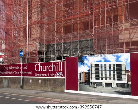 Andover, Hampshire, England - April 1, 2016: Churchill Retirement Living, retirement apartment construction site development - stock photo