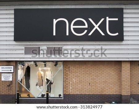 Andover, Retail Park, Hampshire, England - September 3, 2015: Next women and men fashion clothing store, company founded by Joseph Hepworth in Leeds in 1864 - stock photo