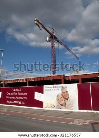 Andover, West Street, Hampshire, England - September 25, 2015: Churchill Retirement Living, retirement apartment construction site development - stock photo