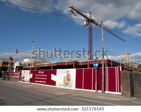 Andover, West Street, Hampshire, England - September 25, 2015: Churchill Retirement Living, retirement apartment construction site development - stock photo