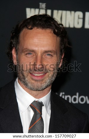 "Andrew Lincoln at ""The Walking Dead"" Season Four Premiere, AMC Universal Citywalk Stadium 19,  Universal City, CA 10-03-13 - stock photo"