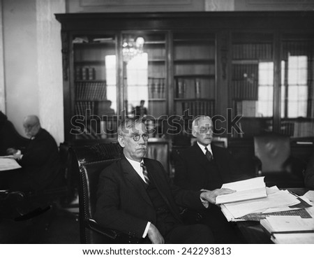 Andrew Mellon, Secretary of the Treasury, with Utah Senator Reed Smoot. Both Republicans saw the Teapot Dome investigations as partisan attacks by the Democrats in an election year. - stock photo