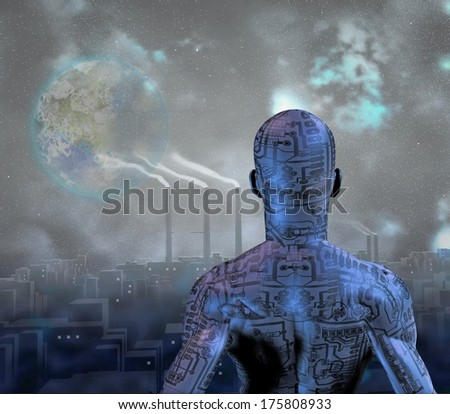 Android before smog filled city with terraformed moon in sky - stock photo