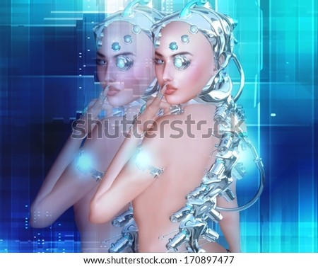 Android girl, part robot part human, she presses her finger against her lips saying shh. She has a secret about the future of technology and man. - stock photo
