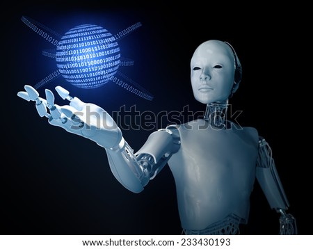 Android holding a binary code globe - stock photo
