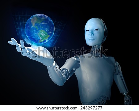 Android holding a holographic Earth  - stock photo