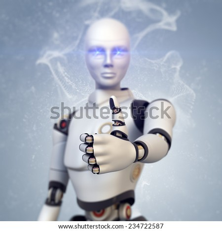 Android looking at camera and giving thumbs up - stock photo