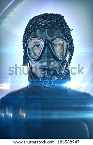 Android portrait with fear in his eyes and with gas mask without filters after Apocalypse. Lot of lights and flares. Male figure with boobs. - stock photo