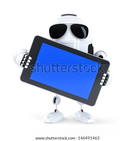Android robot holding blanc screen mobile device. Isolated - stock photo
