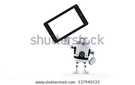 Android robot holding blank screen tablet. Advertising concept - stock photo