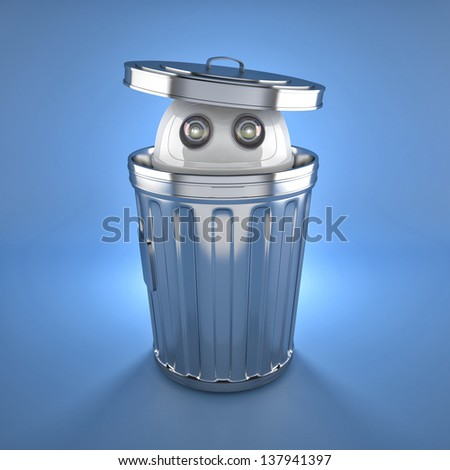 Android robot inside trash bin. Electronic recycle concept - stock photo