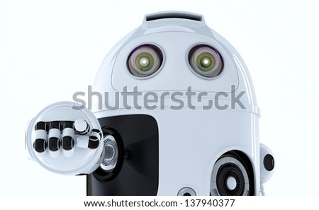 Android robot pointing at you. Isolated on white background - stock photo