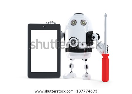 Android robot with tablet computer. Computer repair concept - stock photo