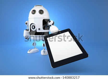 Android robot with touchpad on blue background. 3d illustration - stock photo