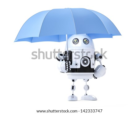 Android robot with umbrella. Security concept. Isolated - stock photo