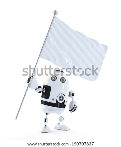 Android robot with white blank waving flag. Isolated on white background - stock photo