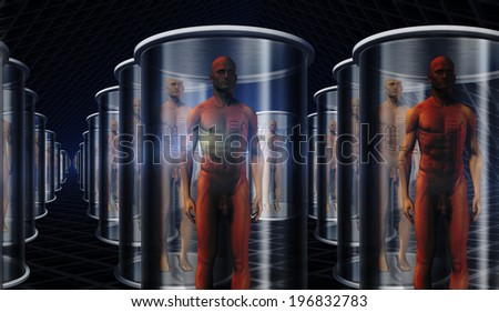 Androids in storage or transport on ship - stock photo