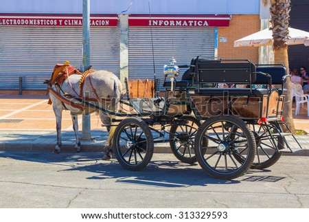 ANDUJAR,SPAIN - September, 6:  beautiful classic carriages and horses custom participate in the famous Andalusian Horse Fair on September, 6, 2014 in Andujar, Spain - stock photo