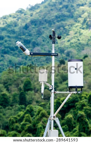 Anemometers  for measuring wind speed - stock photo