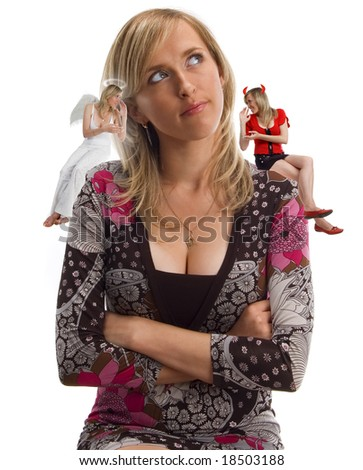 angel and demon counsellor - stock photo