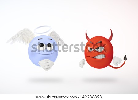 Angel and devil 3D characters - stock photo