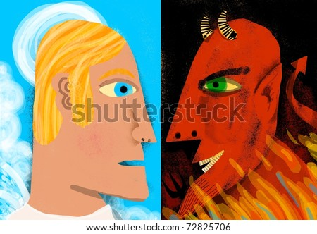 angel and devil facing. - stock photo