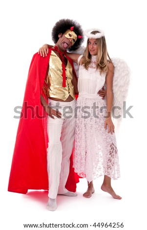 angel and devil fun portrait on white background - stock photo
