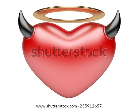 Angel and Devil hearts. lover concept. 3d image isolated on a white background - stock photo