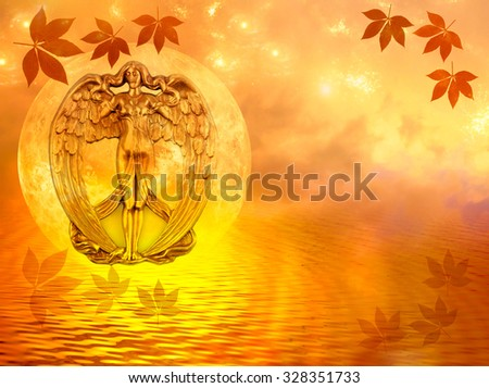 angel and water with copy space - stock photo