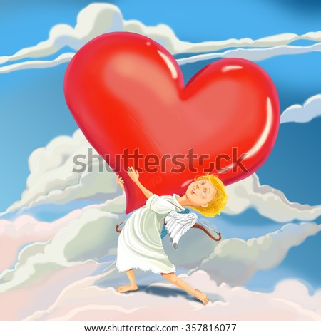Angel Cupid brings heart of love and congratulates with Valentine's Day.  Fantastic Cartoon Style. - stock photo