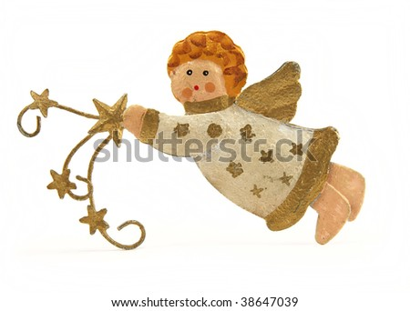 Angel decoration on a white background - stock photo