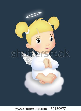 Angel girl sitting on a cloud. - stock photo