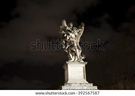 Angel guarding Rome near Castle Sant 'Angelo. - stock photo