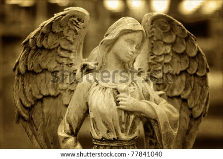 Angel in sepia colors - stock photo
