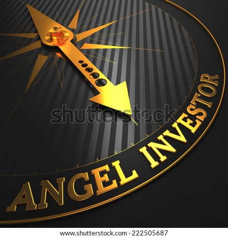 Angel Investor - Business Concept. Golden Compass Needle on a Black Field. - stock photo