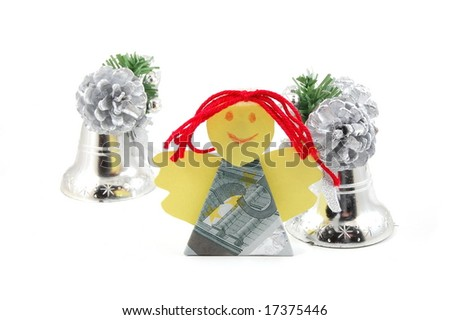 Angel made of money isolated on white background - stock photo