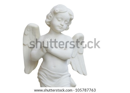 Angel of stone set in a fifteenth-century church - stock photo